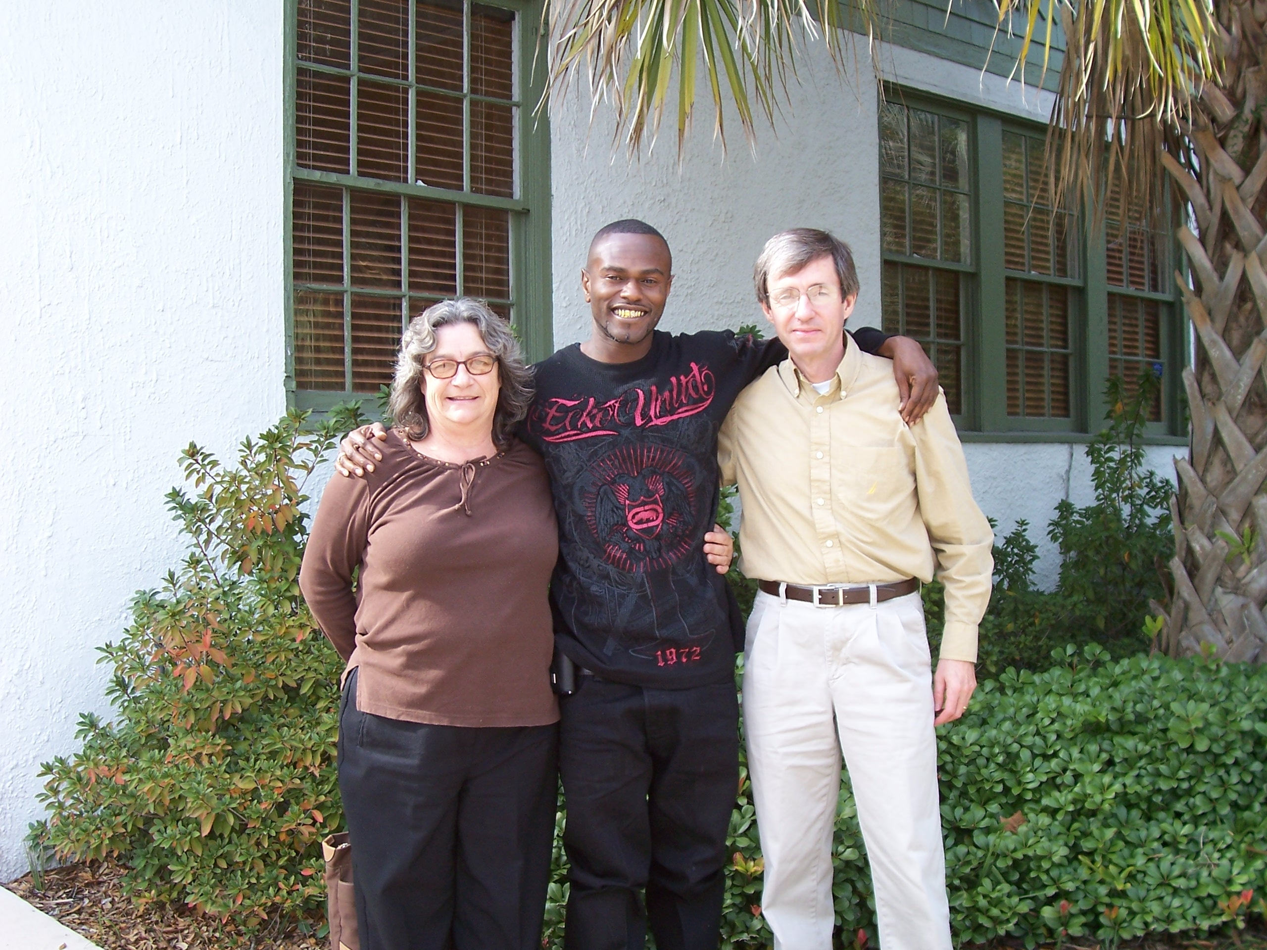 Susan Davis, Willie Lee Slater and William Kent at Mr. Kent's Office after Mr. Slater's Release from Prison